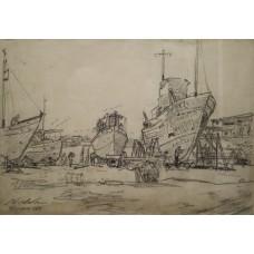 Nicolae DARASCU (1883-1959) - Barci in port (schita)
