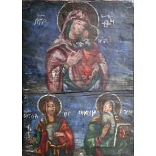 Icoana lemn (Scoala romaneasca) - Maica Domnului cu Pruncul (SecXIX)