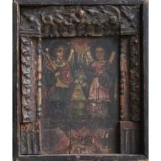 Icoana cu rama sculptata ( Sec XIX ) - Sfintii Mihail si Gavril