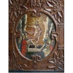 Icoana lemn sculptata (1887) - Invierea lui Iisus